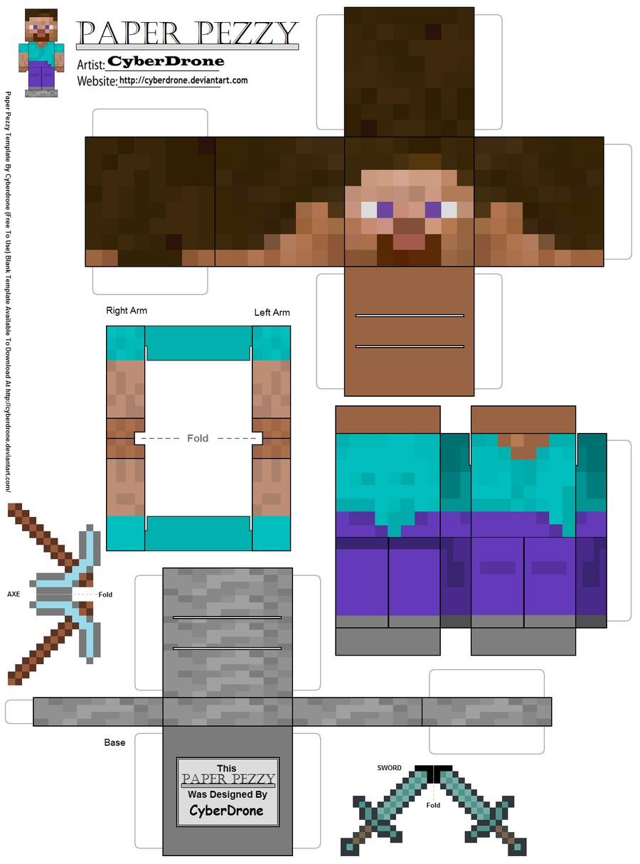 Paper Pezzy Steve Minecraft by CyberDrone on DeviantArt