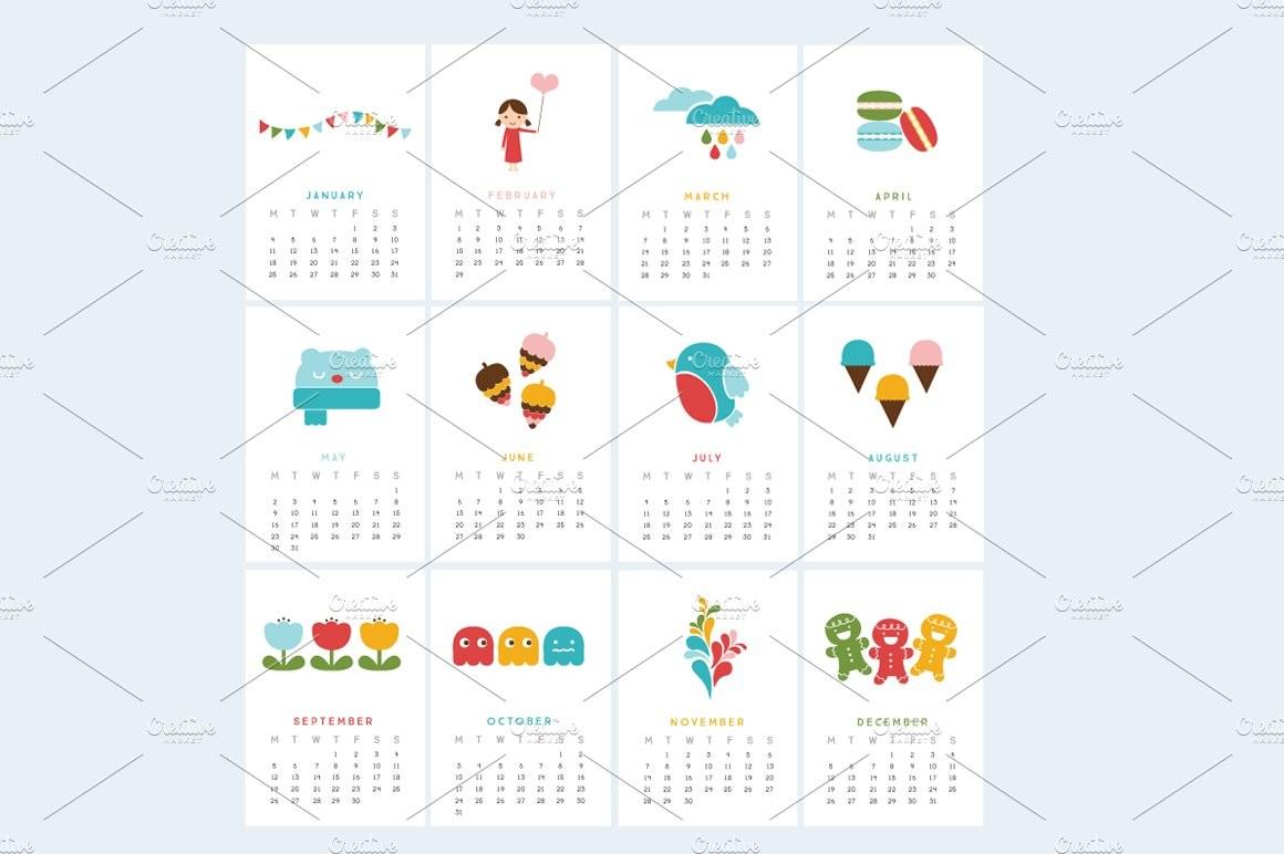 Printable Mini Calendar 2016 Bold Stationery Templates