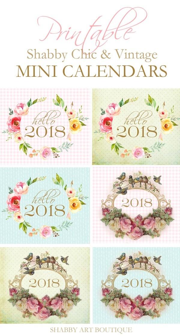 Mini Printable Calendar 2018 Mini Calendars Shabby Art Boutique