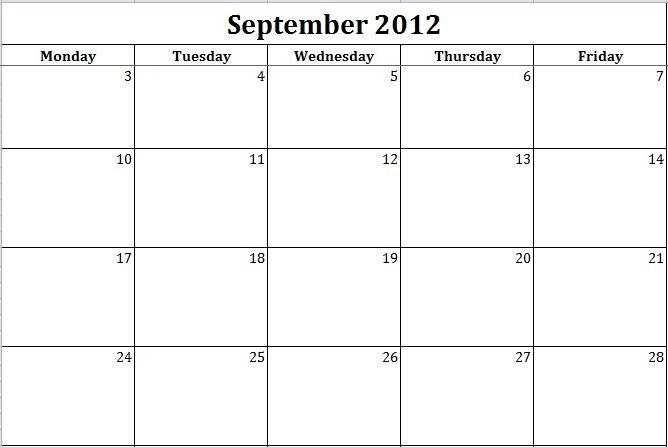 Monday-friday Schedule Template Calendar Template Monday Through Friday Invitation Template