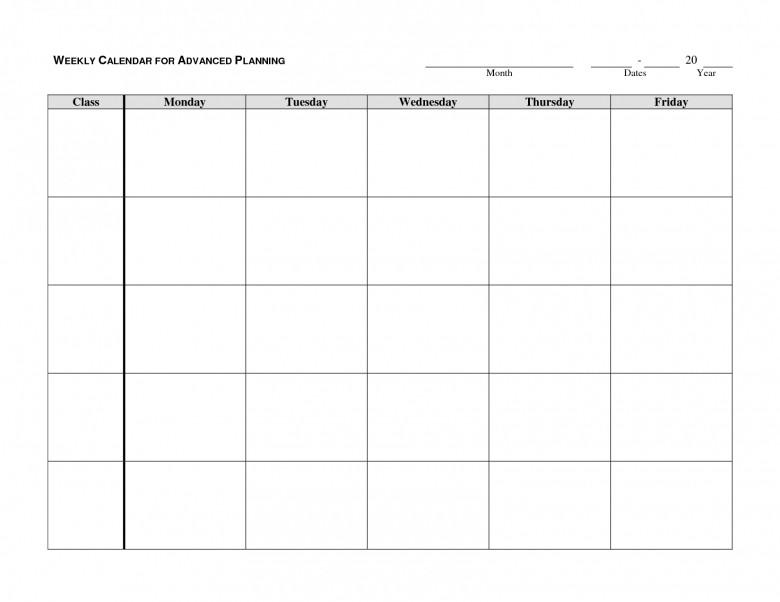 Monday Friday Calendar Template Printable Free Calendar