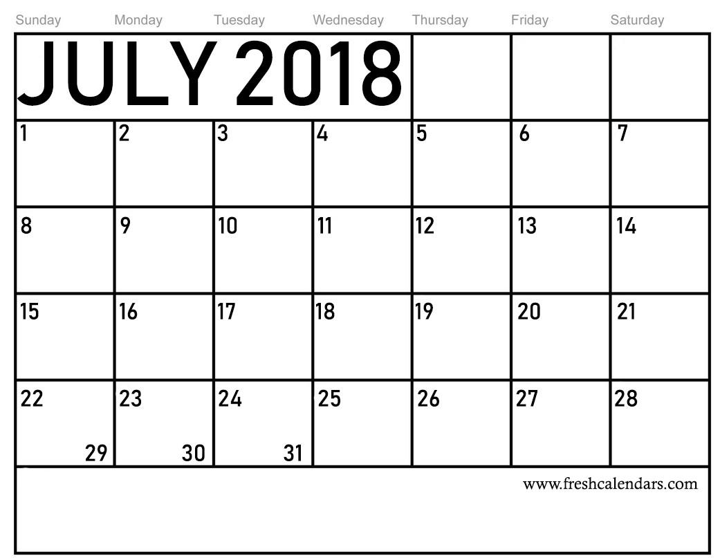 Month Of July Calendar Printable