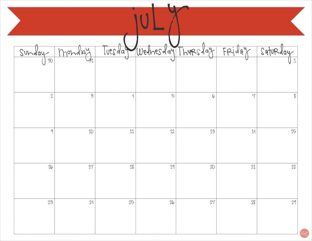 July 2017 Calendar Free Printable