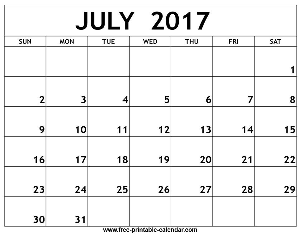 Month Of July Calendar Printable Print Blank Calendars