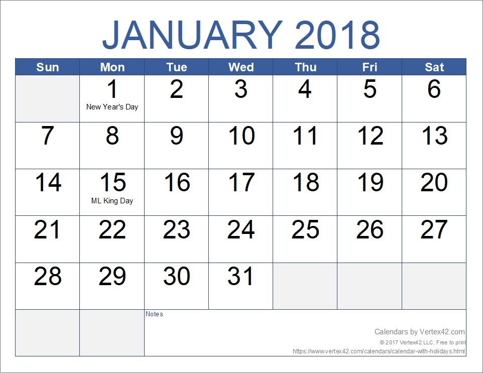Month Printable Calendar