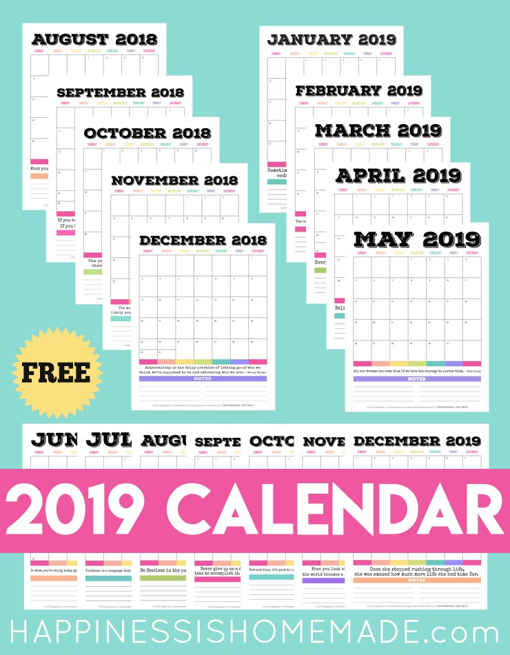Monthly 2019 Printable Calendar 2019 Free Printable Calendar Printable Monthly Calendar