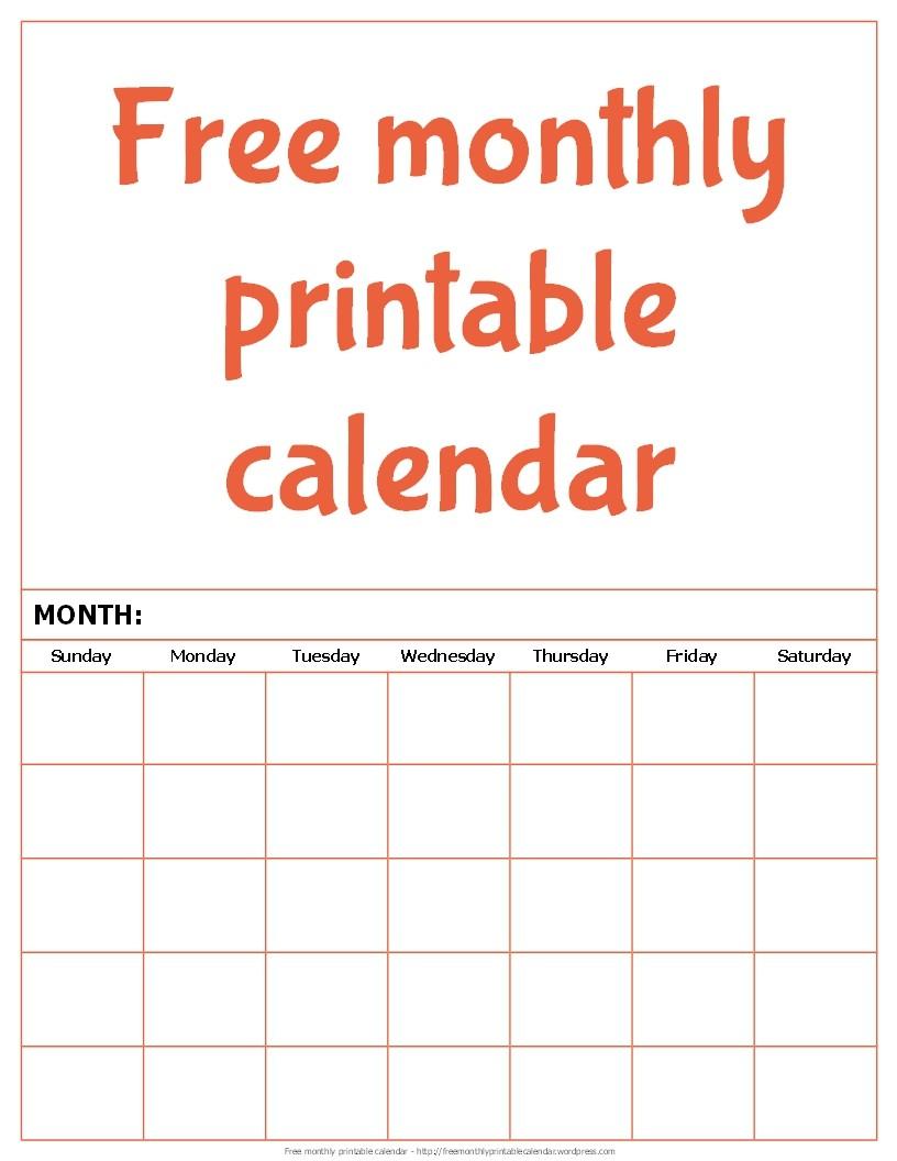 Free monthly printable calendar