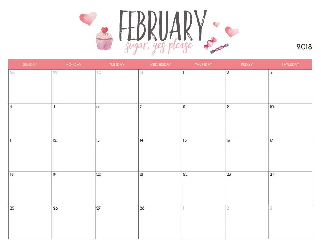 Monthly Calendar Printable Free Free Printable 2018 Monthly Calendar