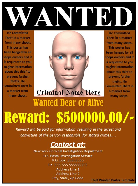 Most Wanted Poster Templates 29 Free Wanted Poster Templates Fbi and Old West