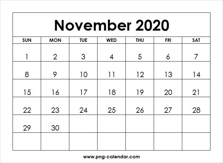 November 2020 Calendar Printable Blank November 2020 Calendar Printable Free
