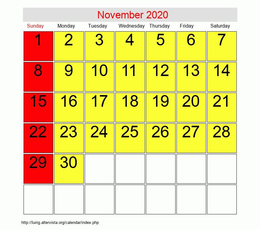 November 2020 Printable Calendar November 2020 Roman Catholic Saints Calendar