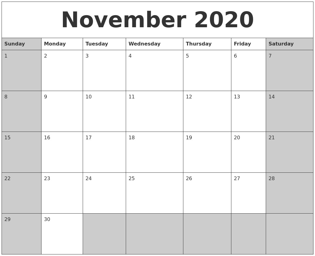 November Calendar 2020 Printable November 2020 Calanders