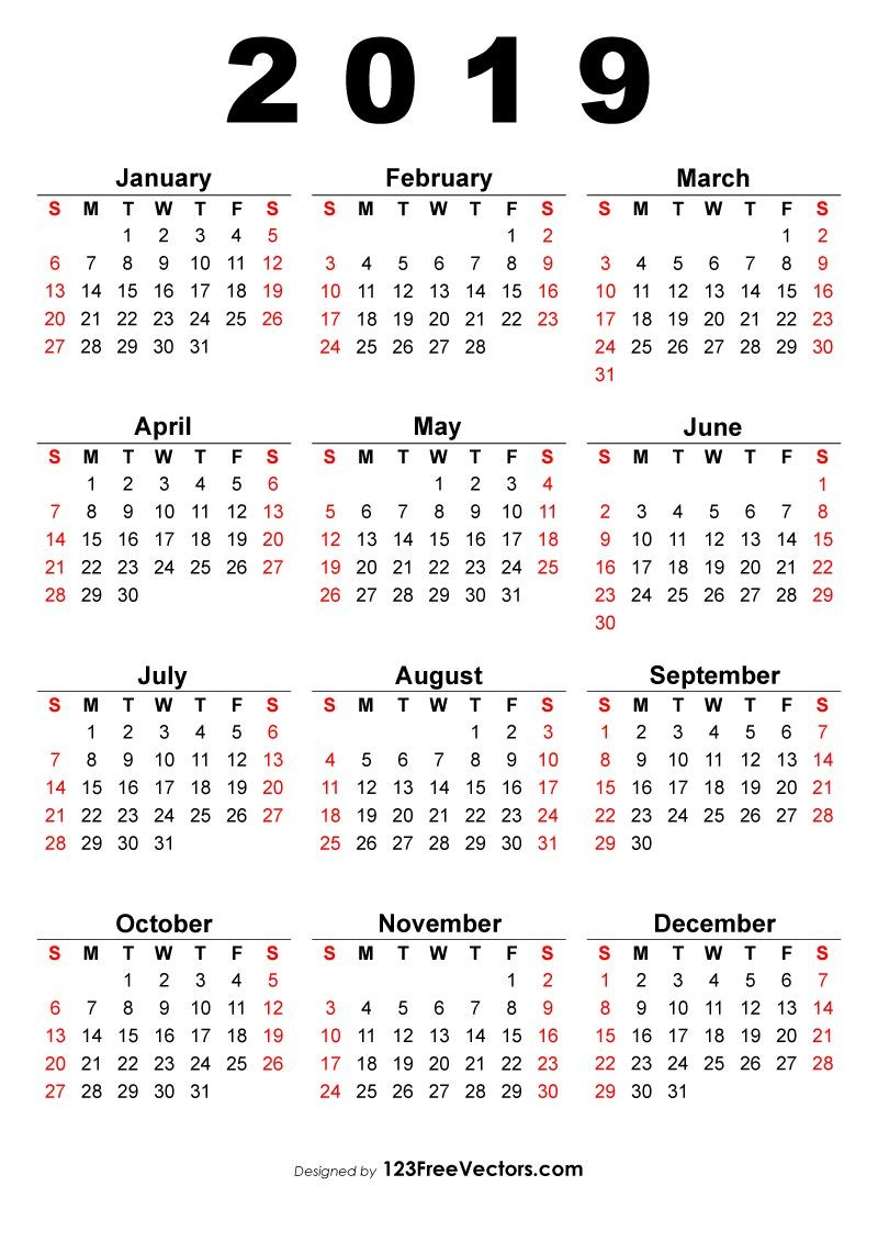 2019 Calendar e Page 2019 Calendar