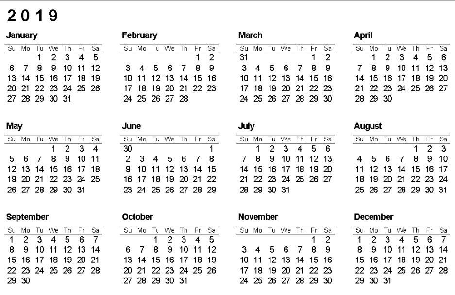2019 Calendar e Page