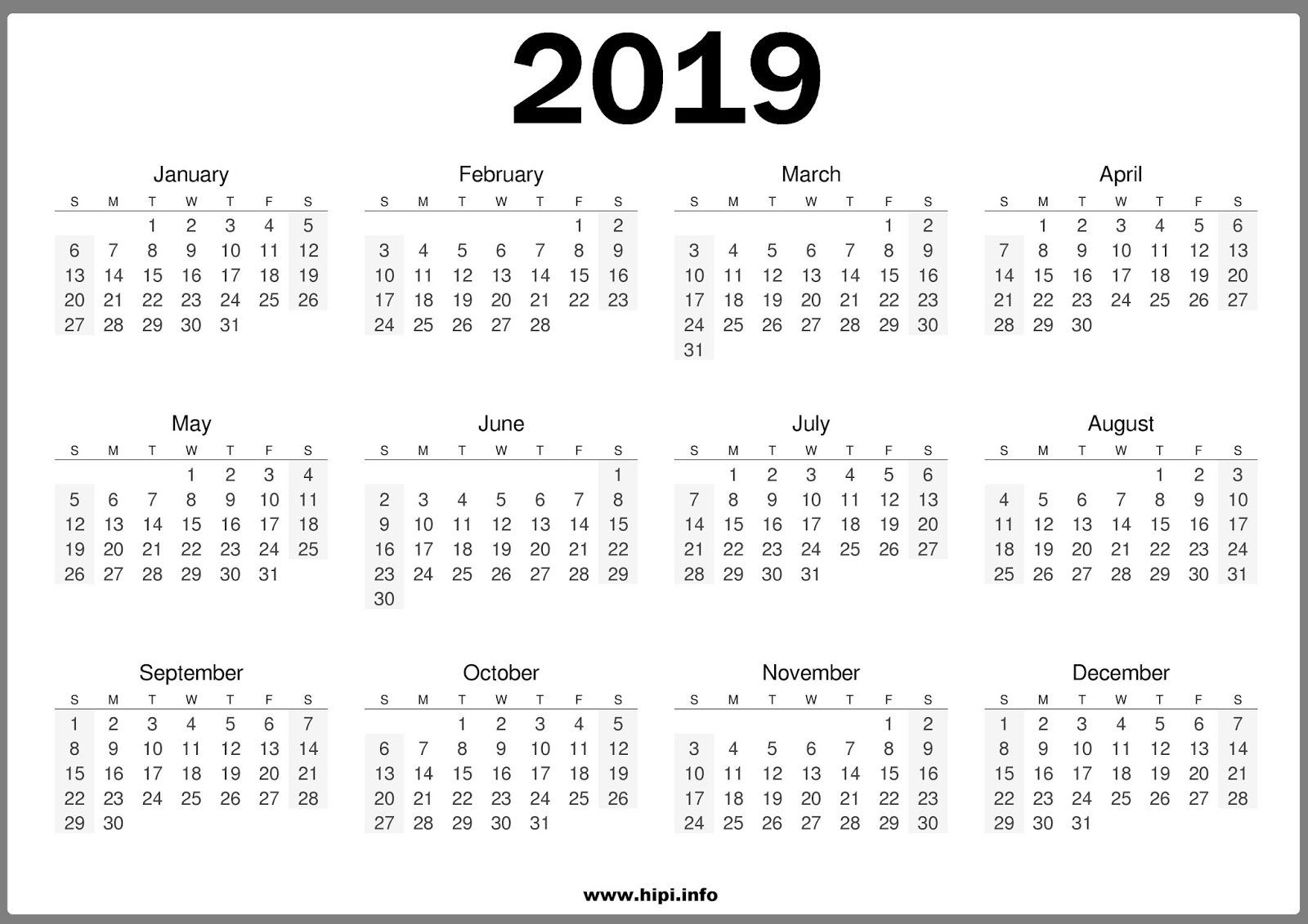 One Page Yearly Calendar 2019 E Page Calendar 2019 Printable Clip