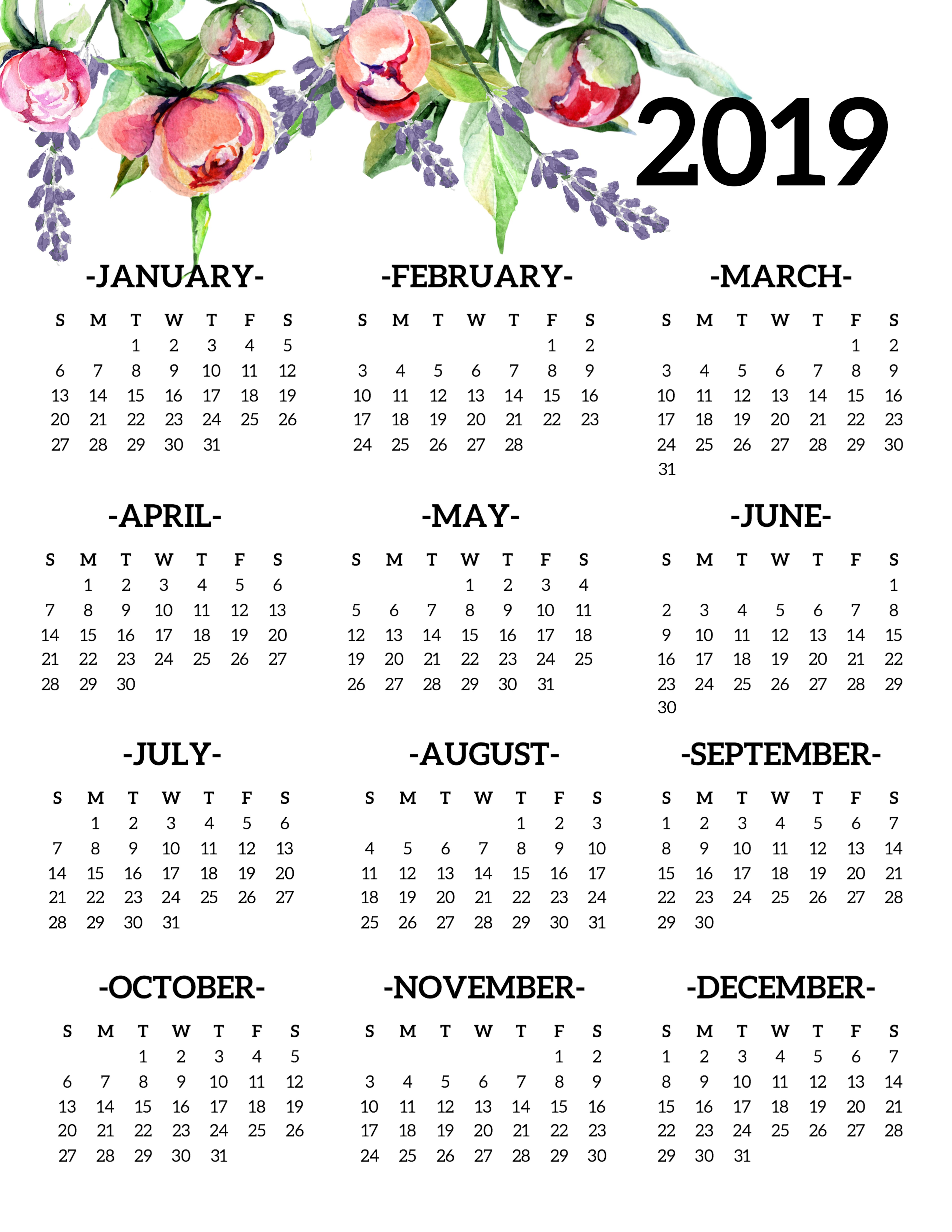 One Page Yearly Calendar 2019