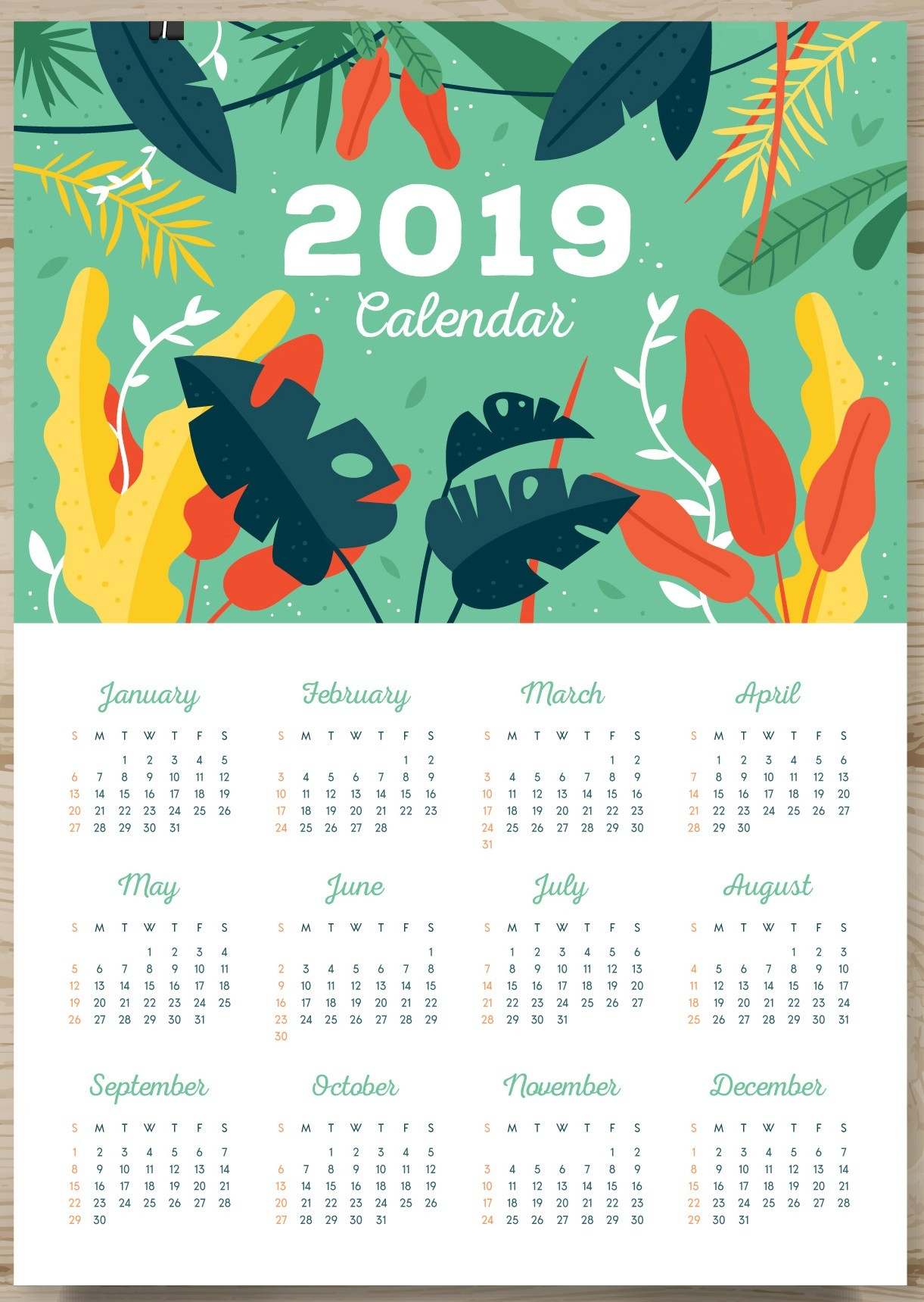 One Page Yearly Calendar 2019 Printable 2019 E Page Calendar