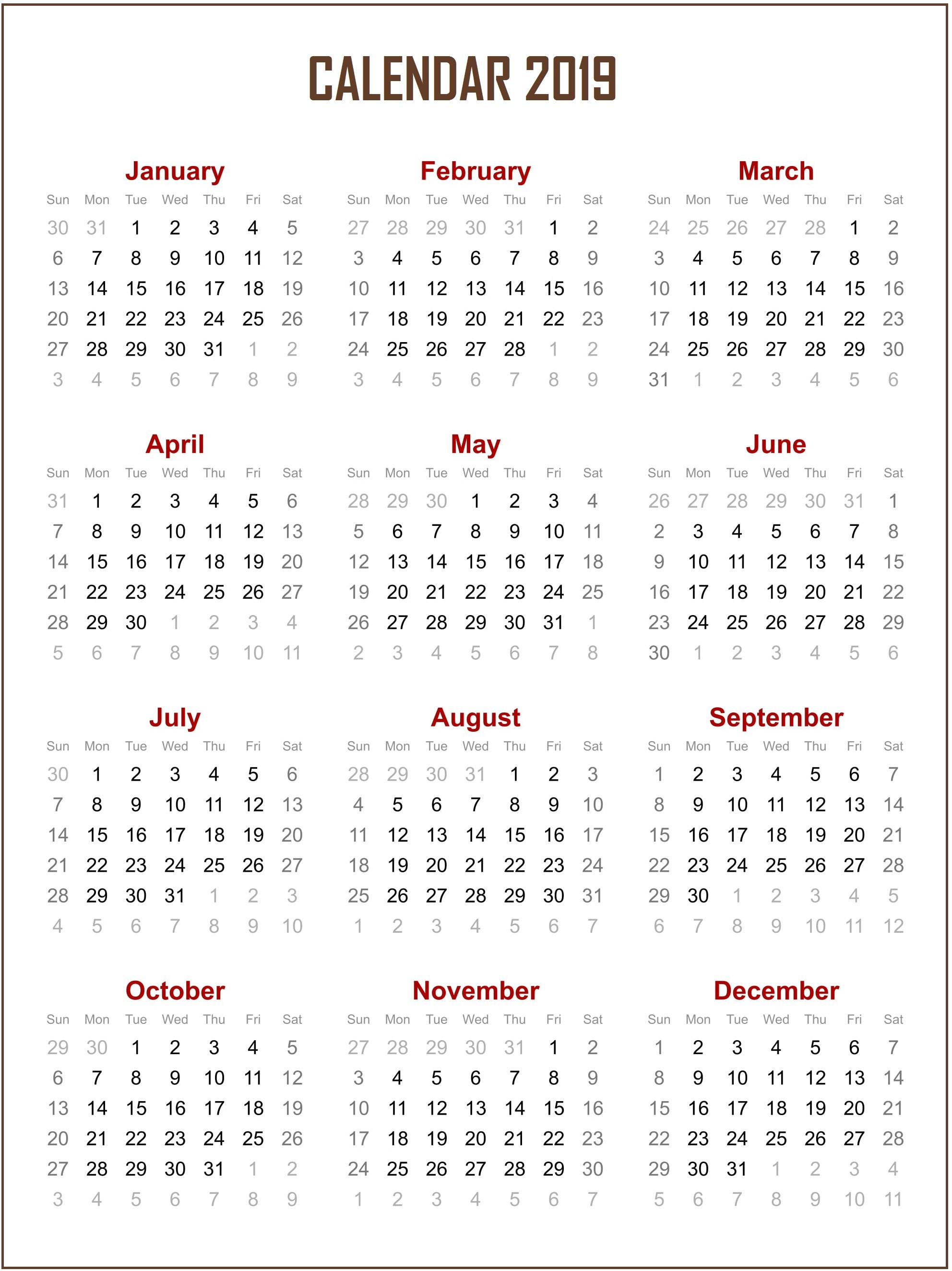 Printable 2019 e Page Calendar