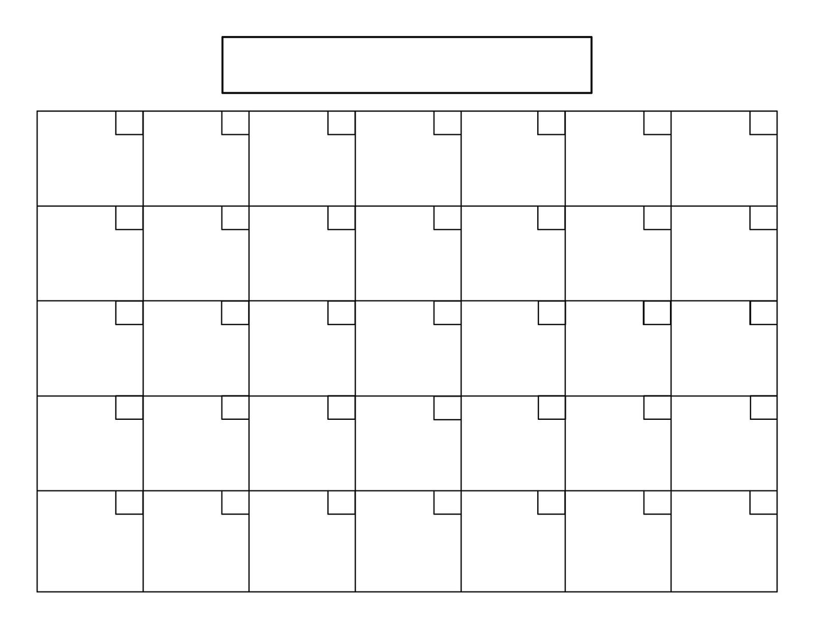 Plain Calendar Printable 7 Best Of Blank Printable Calendar 2016 8 5 X 11