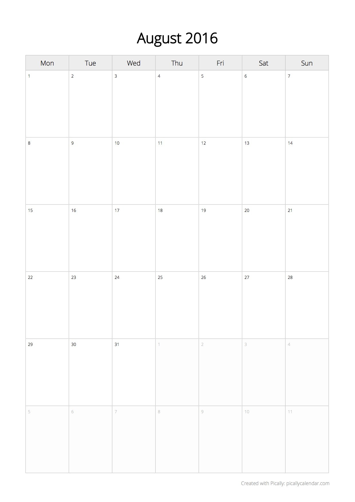 Plain Calendar Printable Create Free Calendar 2019 and 2020 Picallycalendar