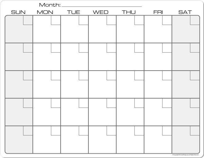 Dry Erase Monthly Calendar Fridge Magnet PLAIN WHITE