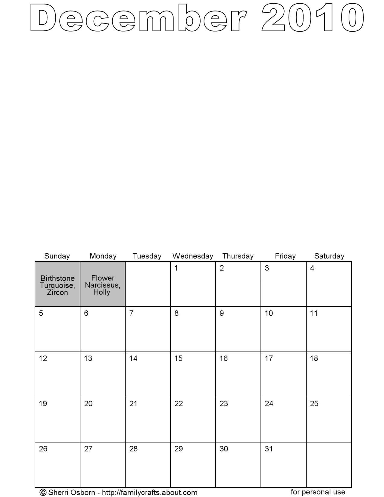 Plain Calendar Printable Photography December 2010 Plain Calendar