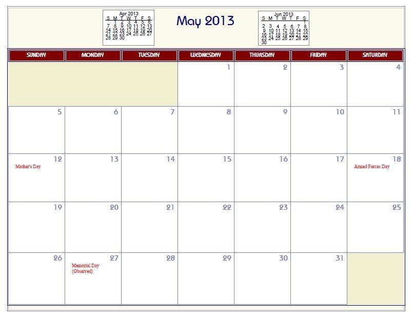 Printable PDF Wall Calendar plain no holidays 2015