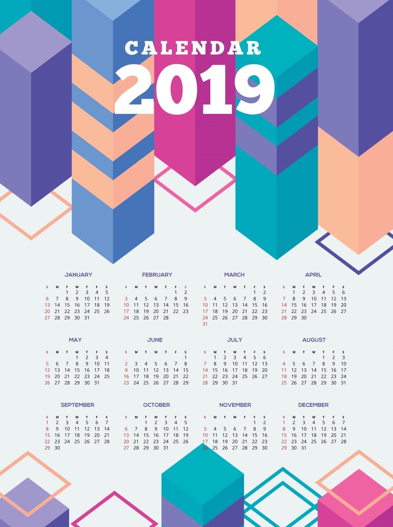 Pretty Printable Calendar 2019 Free Printable 2019 Calendar