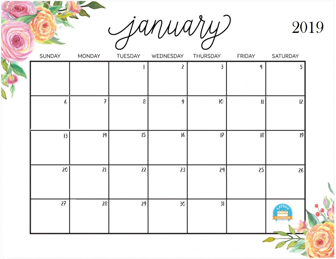 Pretty Printable Calendar 2019 Printable January 2019 Calendar