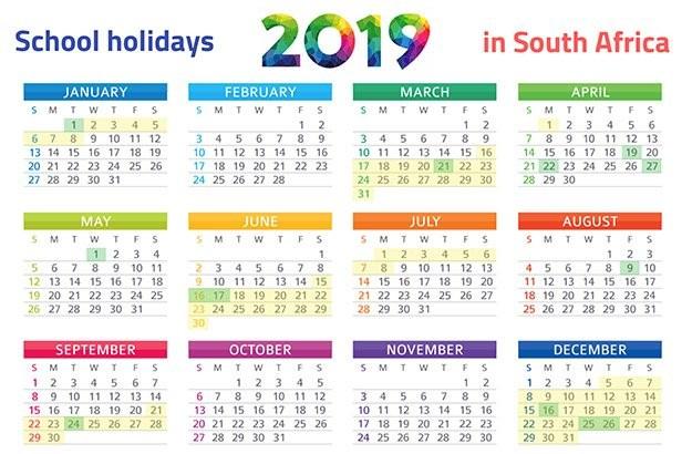 Printable 2019 Calendar with School Holidays