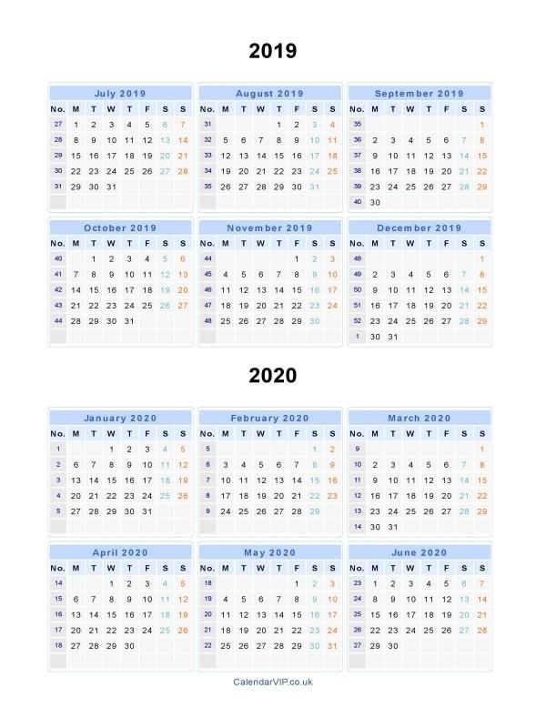 Split Year Calendars 2019 2020 Calendar from July 2019