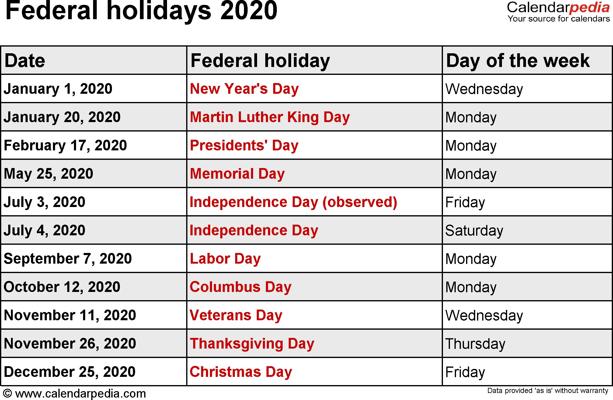Printable 2020 Calendar with Us Holidays Federal Holidays 2020