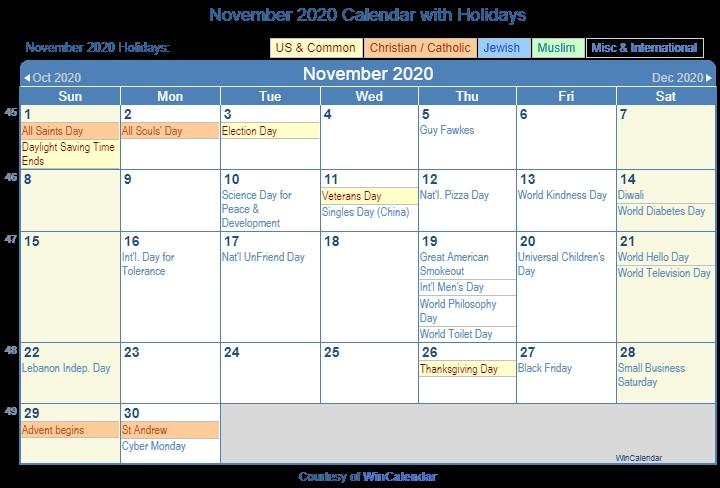 Print Friendly November 2020 US Calendar for printing