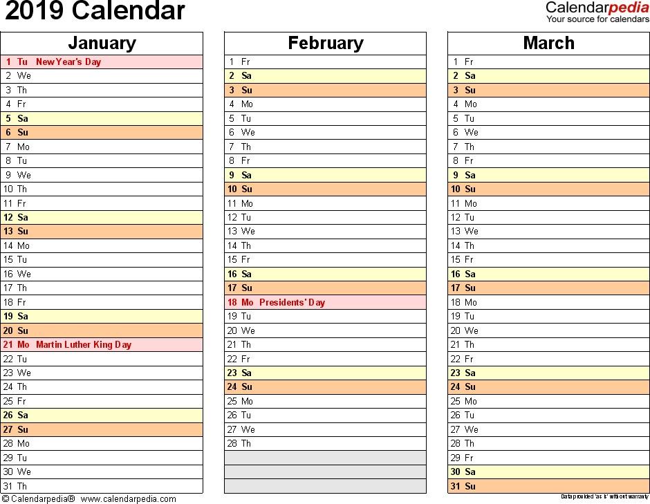 Printable 3 Month Calendar 2019 2019 Calendar Download 17 Free Printable Excel Templates