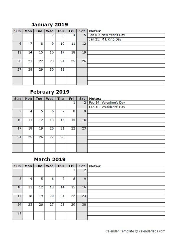 Printable 3 Month Calendar 2019 2019 Three Month Calendar Template Free Printable Templates
