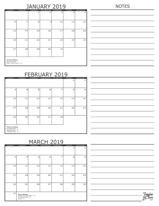 3 Month Calendar 2019