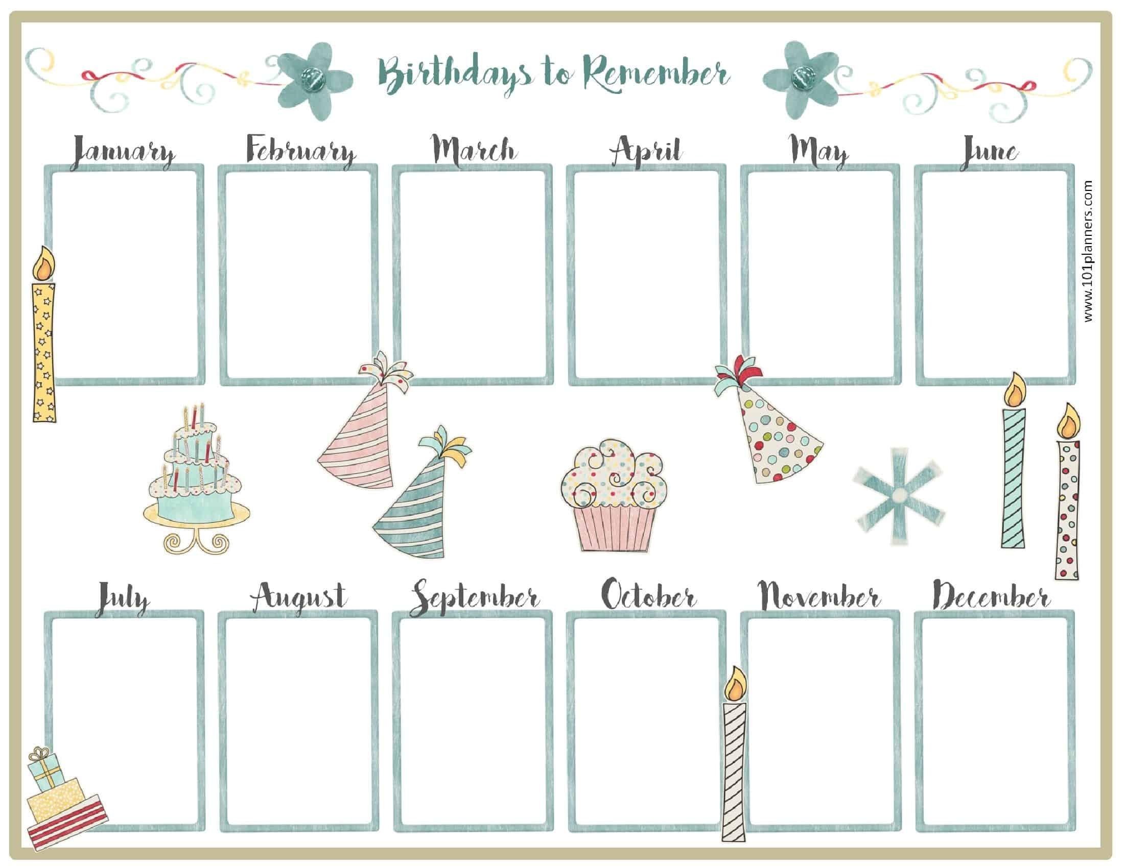 Printable Birthday Calendar Free Birthday Calendar