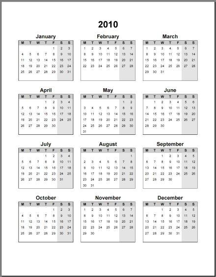 Printable Calendar 2010 Print 2010 Calendar Single Page Annual ask the