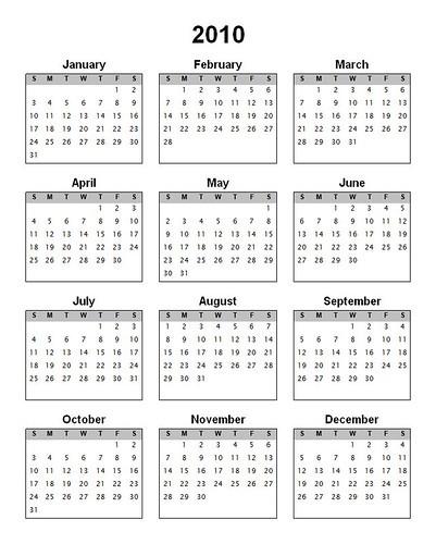 Printable 2010 Calendar Where to Download TechPinas