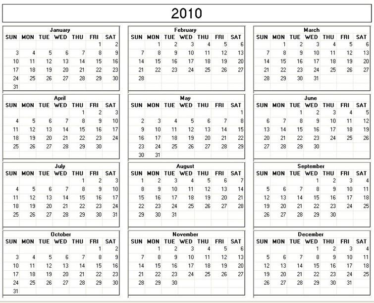 Printable Calendar 2010   Get Free Printable Calendar 2020 ...