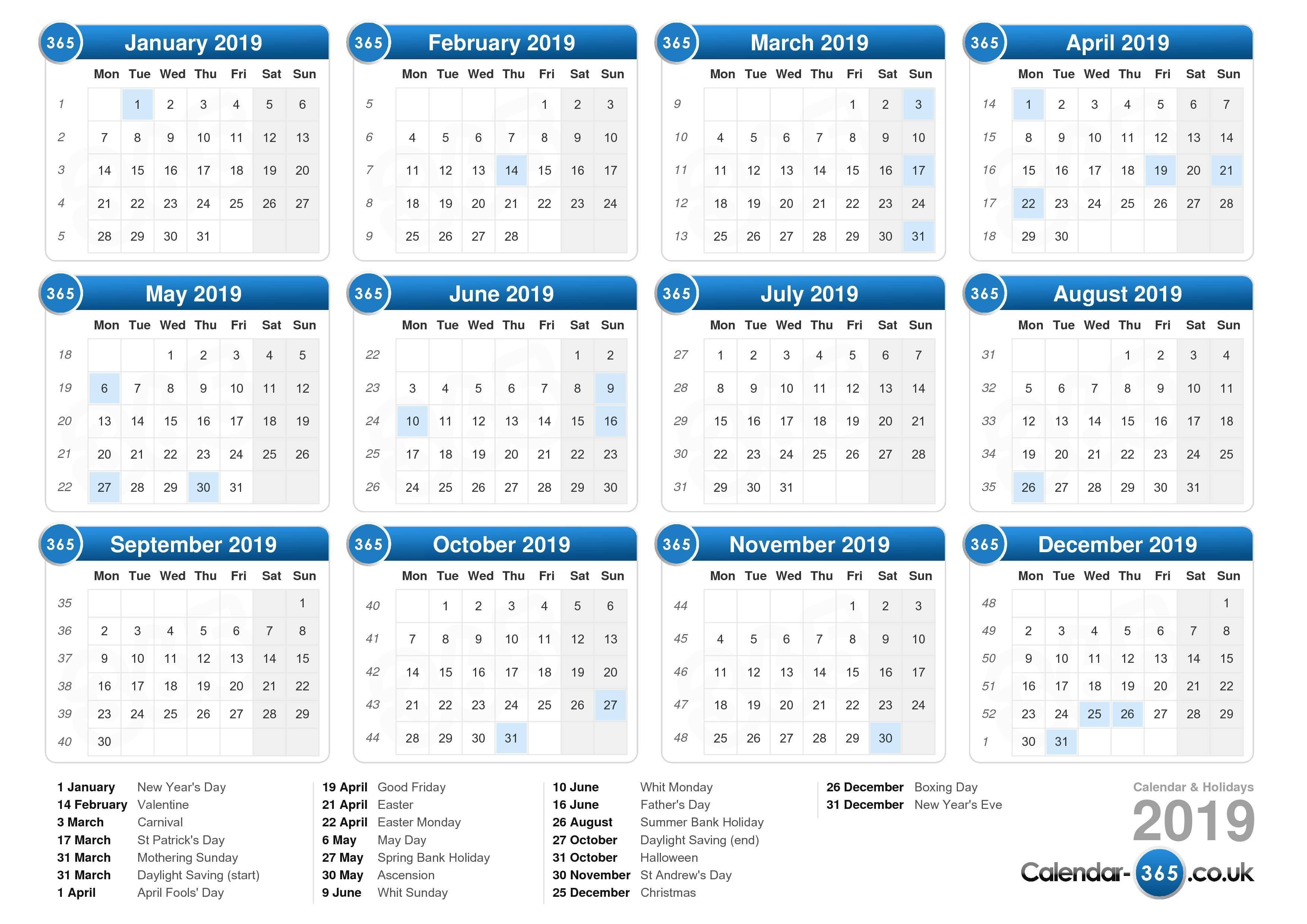 Printable Calendar 2019 Uk Calendar 2019