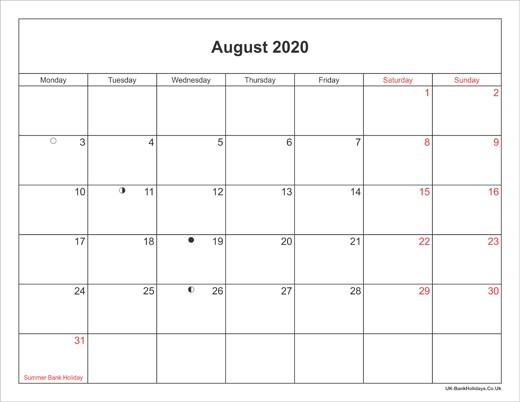 Printable Calendar 2020 Landscape