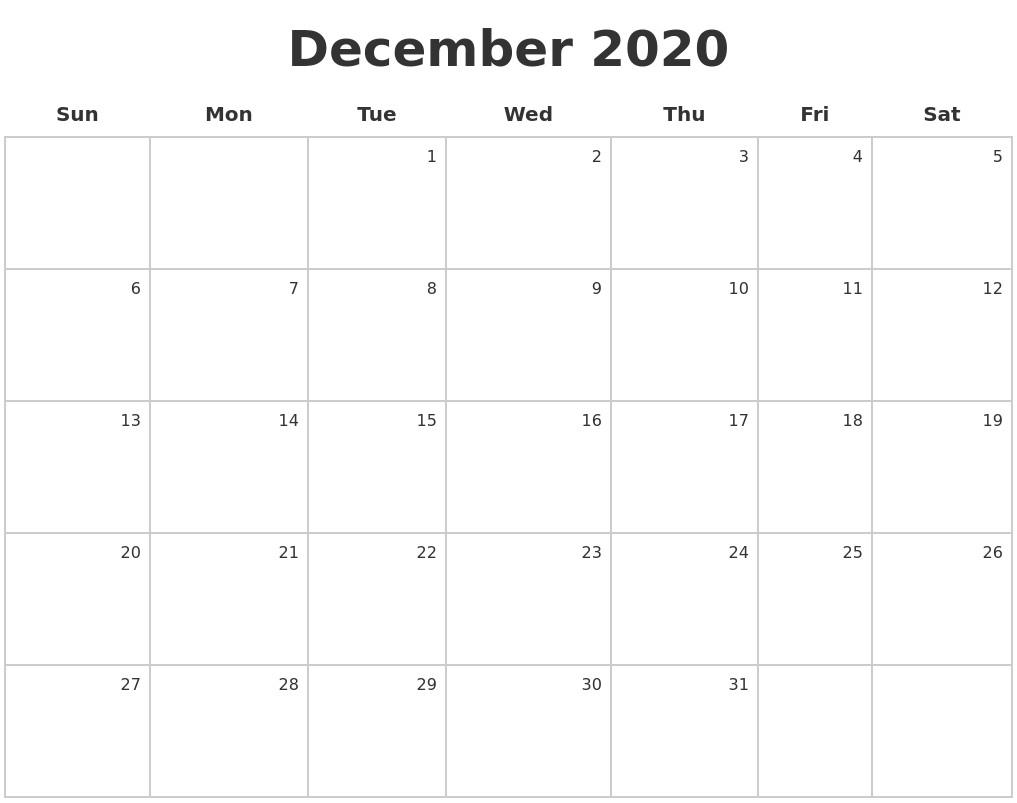 Printable Calendar December 2020 August 2020 Monthly Calendar Template