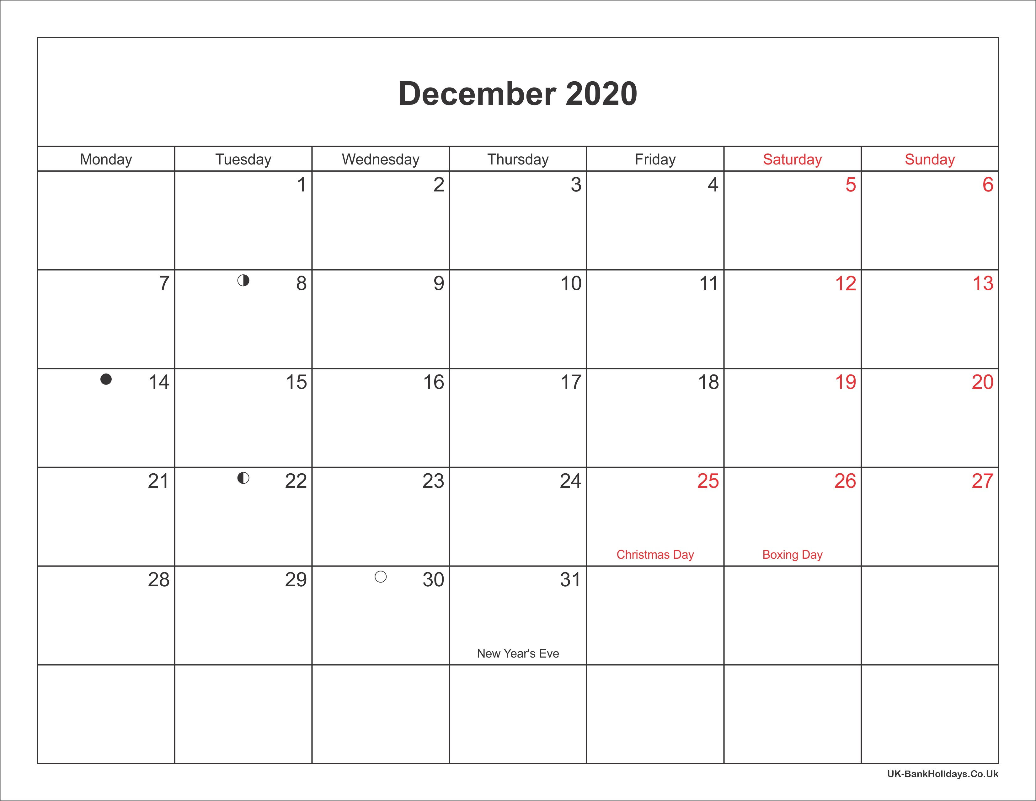 December 2020 Calendar Printable with Bank Holidays UK