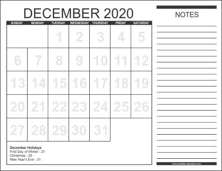 Printable Calendar December 2020 Free Printable Calendars 2020 Free Printable Calendars