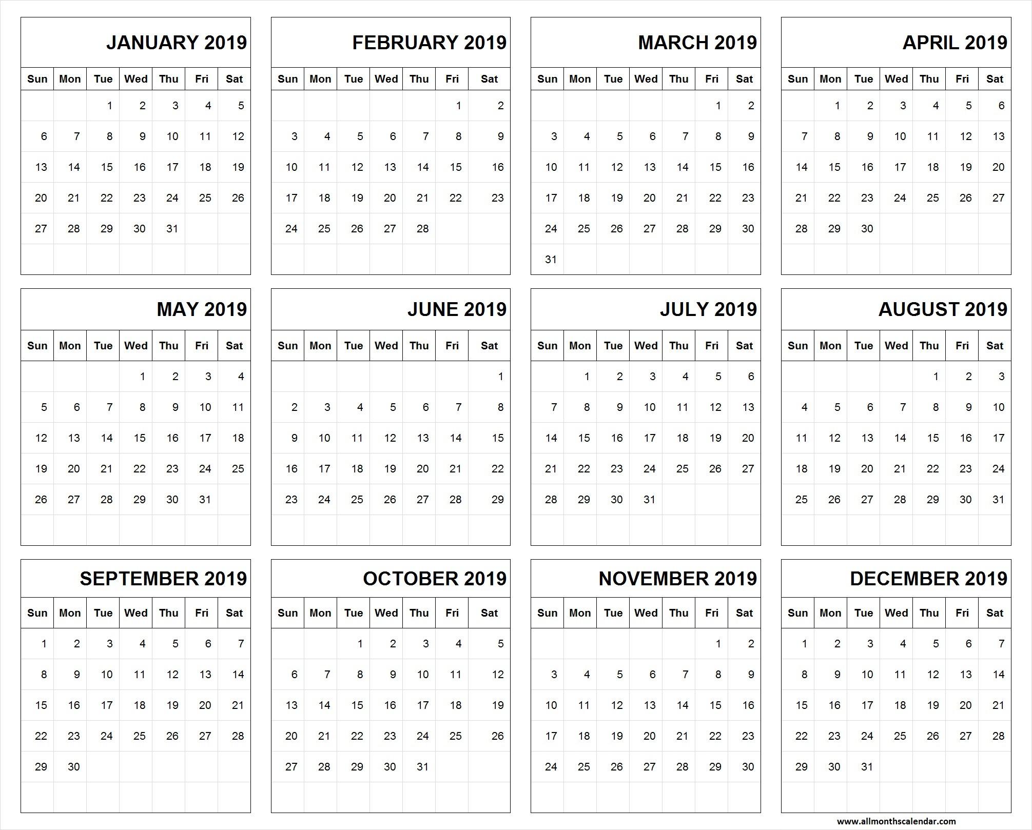 Printable Calendar for 2019 and 2019 Printable Calendar January 2019 to December 2019 Template