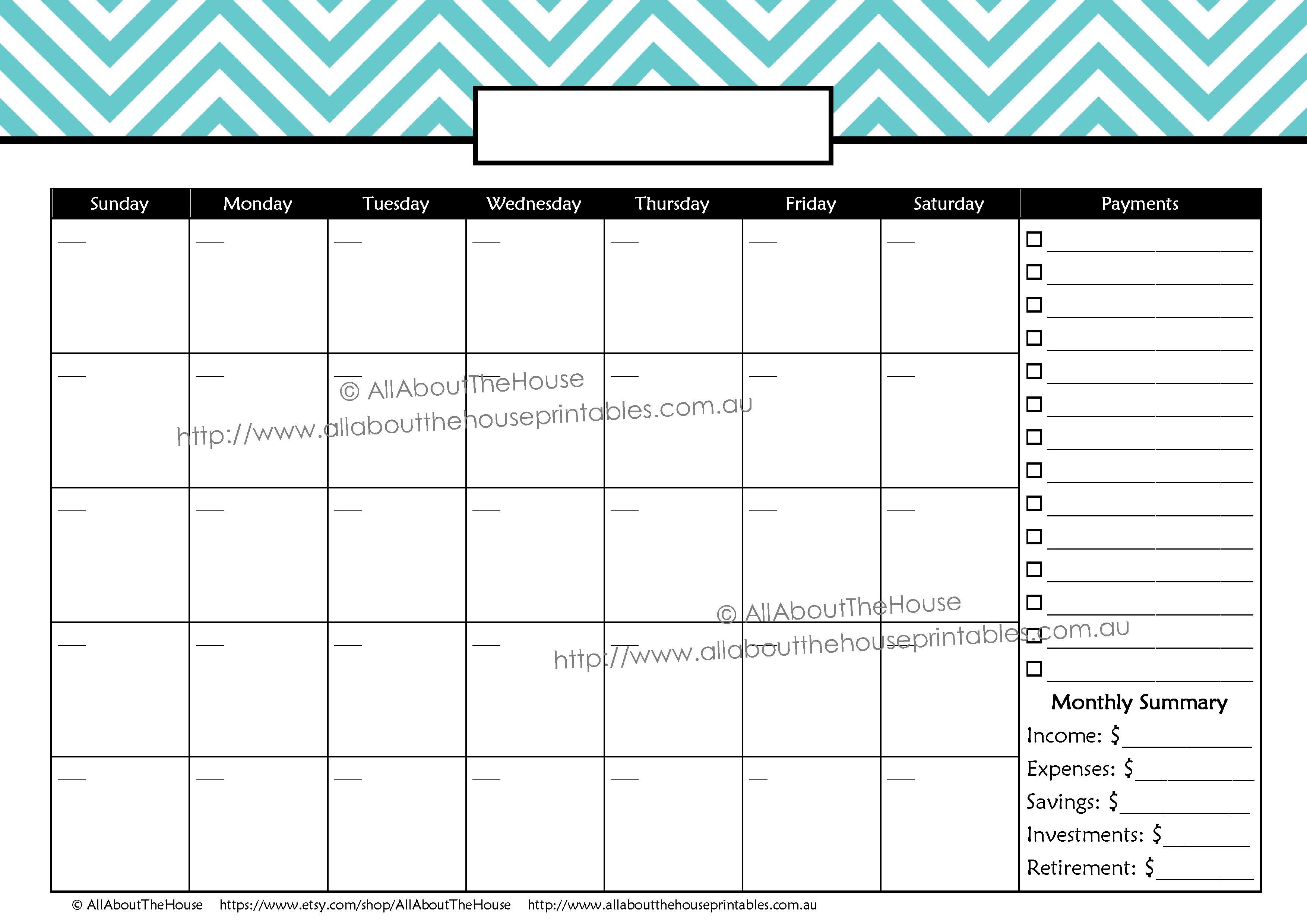 Printable Calendar for Bills Allaboutthehouse Printables