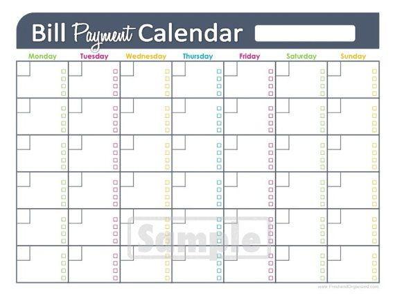 Printable Calendar for Bills Bill Payments Calendar Editable Personal Finance