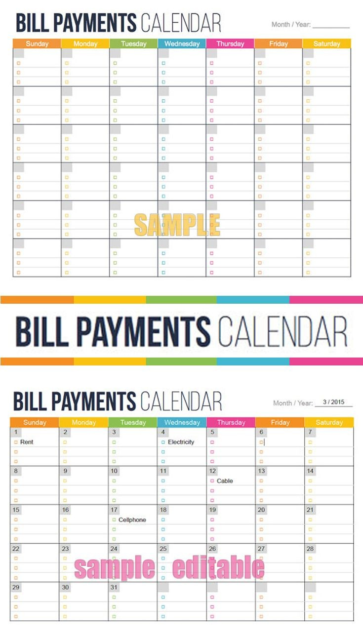 Printable Calendar for Bills See Your Bills Due Dates at A Glance Bill Payment