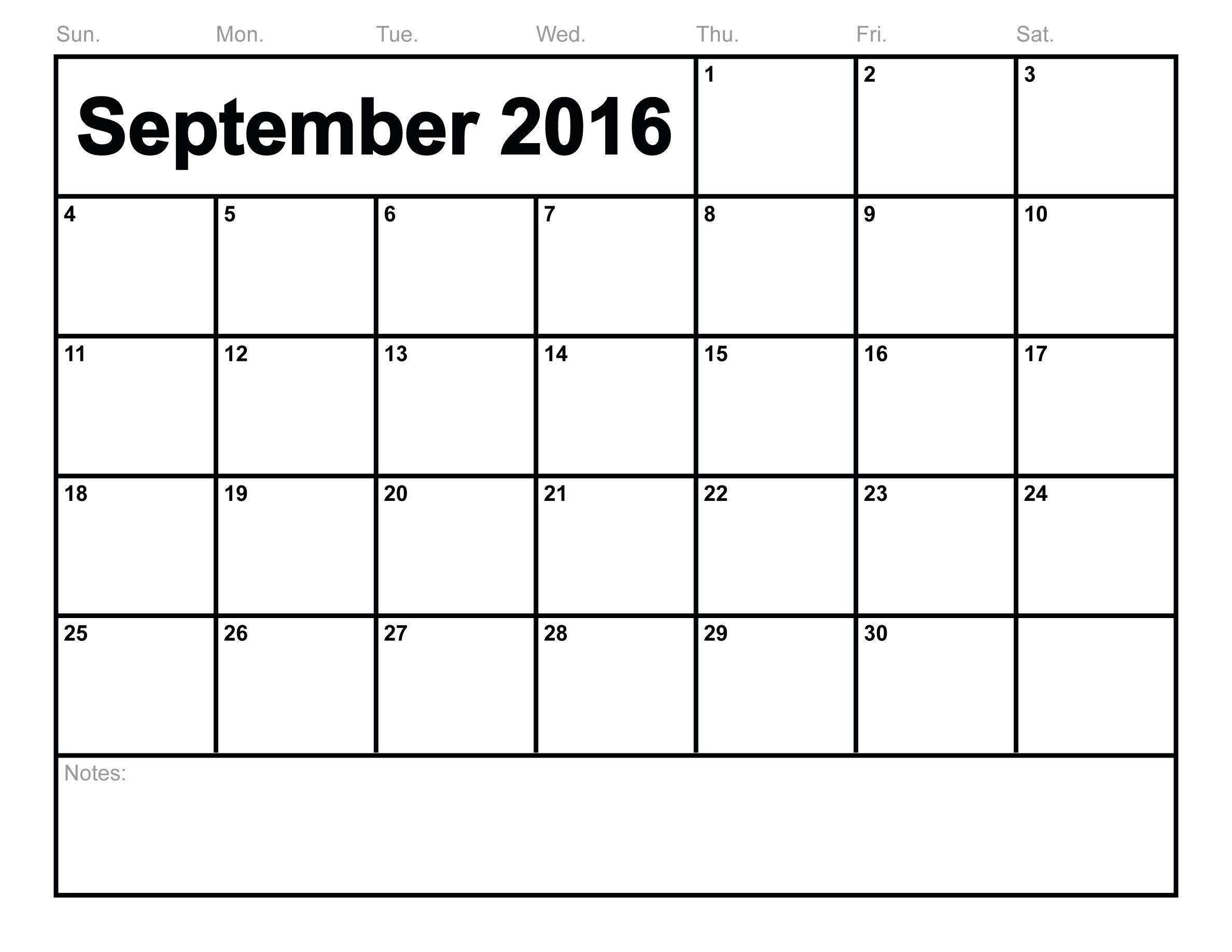 Printable Calendar for September Free Printable September 2016 Calendar